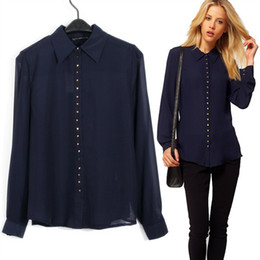 Images of Navy Blue Shirts Womens - Reikian