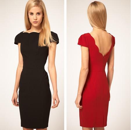 Elegant Ladies Work Pencil Dress Slash Neck Cap Sleeve Fitted ...