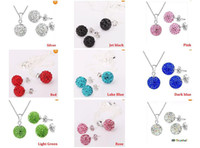 Earrings & Necklace crystal ball wholesale - Top quality mm CZ crystal clay disco ball shamballa necklace earring studs jewelry set mix color