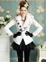 Wholesale Autumn Winter New White Big Collar Black Flower Gem Noble Temperament Women s Overcoat Coats