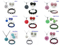 Wholesale 10mm CZ crystal clay disco ball shamballa necklace bracelet earring studs jewelry set mix color