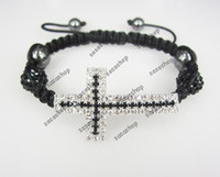 Wholesale Christmas NEW Rhinestone Sideways Cross Bracelet Crystal Disco Balls Sideway Bracelet