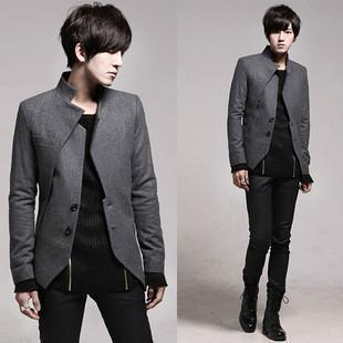 2013 New Style Men'S Worsted Wool Short Business Suit Coat Gray ...