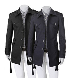 Wholesale 1pcs Men fall and winter thin coat Slim trench coats Men s lapel single breasted trench coats