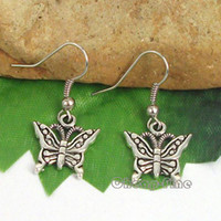 Wholesale 10Pairs Tibetan silver Butterfly charm pendant Dangle Earrings x33mm