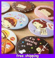 Wholesale Cute Cartoon Pocket Makeup Compact Cosmetic Mirror beautiful women