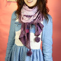 Wholesale ChinaPost Knitting Floral Autumn winter long scarf cotton scarf shawl fashion warm lavender