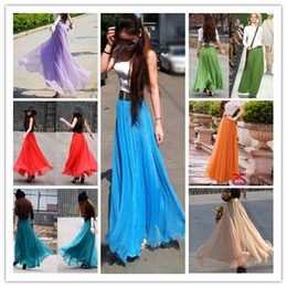 Wholesale Fashion candy colors chiffon skirts strench waist maxi dresses flounced hemline beach dress