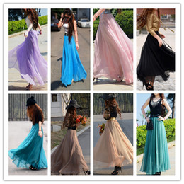 Wholesale Hot sale ladies chiffon skirts trench waist big hemline long dresses colors beach maxi dress