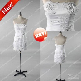 Wholesale Lace Strapless Sheath Short White Wedding Dresses Cheap Evening Bridal Party Gown
