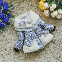 Wholesale New girls coat bow leopard white yellow Winter Floral thickening baby wear