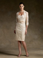 Wholesale Sexy Champagne Mother Of Bride Dresses With Bolero Strapless Sash Lace Mermaid Dresses R11030