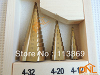 Wholesale 3 HSS Steel Step Drill bits Cone Cutters Hole Cut Tool Set