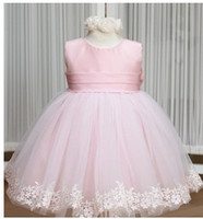 Wholesale Baby girl s dress kids Girl sleeveless party wedding pink flower princess dresses TuTu A lj