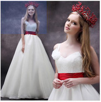 Wholesale 2013 NEW White One Shoulder Flower Red Ribbon Sash Simple Chapel Train Wedding Gowns Wedding Dresses