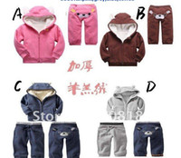 Neutral berber clothes - Winter Children s clothing baby lovely bear sets children kids berber Fleece Hooded pants