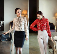 Wholesale fashion women ol silk blouse long sleeve dot collar blouse and tops plus size