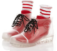 Wholesale Fashion jelly shoes transparent crystal thick bottom Martin boots rain boots transparent wellies