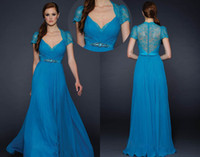 Wholesale Custom Made Blue V neck Cap Sleeve Lace Prom Evening Party Gowns Formal Dress Bridesmaids Dresses
