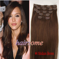 Wholesale 24 inch Genuine clips in remy human hair extensions extension medium brown g set