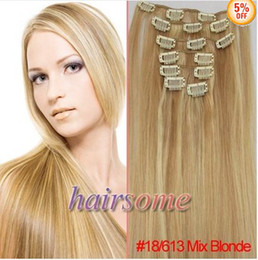 Wholesale 24 inch NEW Genuine clips in remy human hair extensions Mix Blonde g set