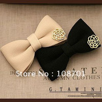 Wholesale hot selling handmade fabric bowknot with metal rose flower ornament hair pins crocodile hair clips