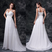 Model Pictures best portrait pictures - Best Selling A line High Waist Beading Pregnant V neck Chiffon Wedding Dresses WD111