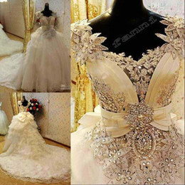Wholesale New Arrival Bling Bling Crystals luxury v neck handmade flower cathedral train Wedding Dresses