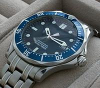 Wholesale Classic Men s mechanical luxury watch blue dial steel band watch