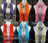 Wholesale Scarf jewelry Pendant necklace Fashion womens Soft scarves Jewellery Mix design Mix Colors DHL