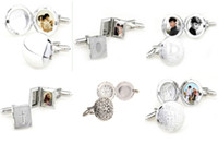 Wholesale 18pairs Picture Frame White Gold Silver Men French Cufflinks Round Rectangle Photo Frame Cuff Links