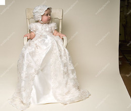Wholesale Silk Christening Gowns Long Short Sleeves Lace Overcoat Babies Beautiful First Communion Dresses