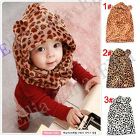 Wholesale Children s Winter Hat Leopard style Baby Hat One piece Kids Cap with Scarf Children Beanies pc H176