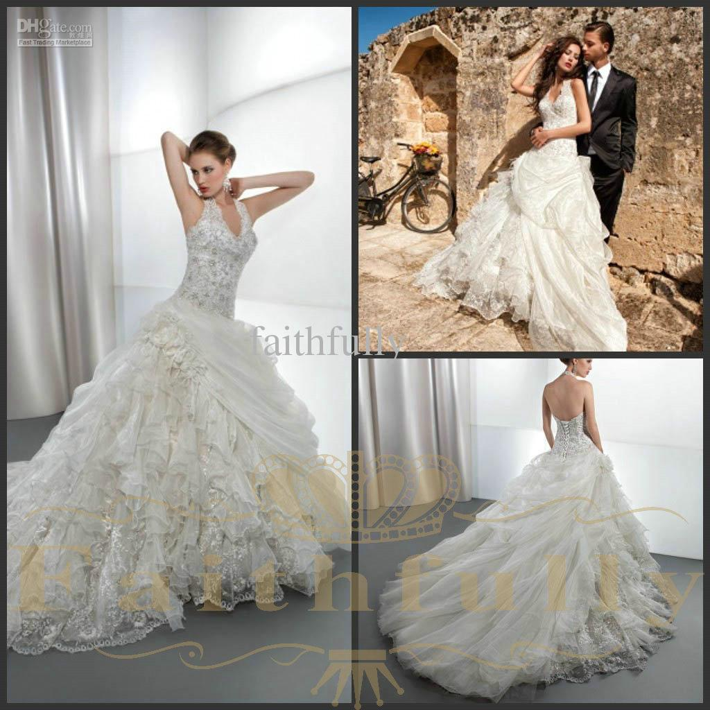Discount Halter Beaded Lace Bodice Wedding Dresses Dropped