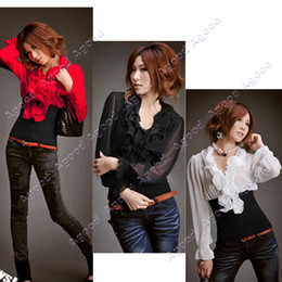 Wholesale Christmas Sale Women Lady Fashion Long Sleeve Top Chiffon Shirt Tops Colors Agood
