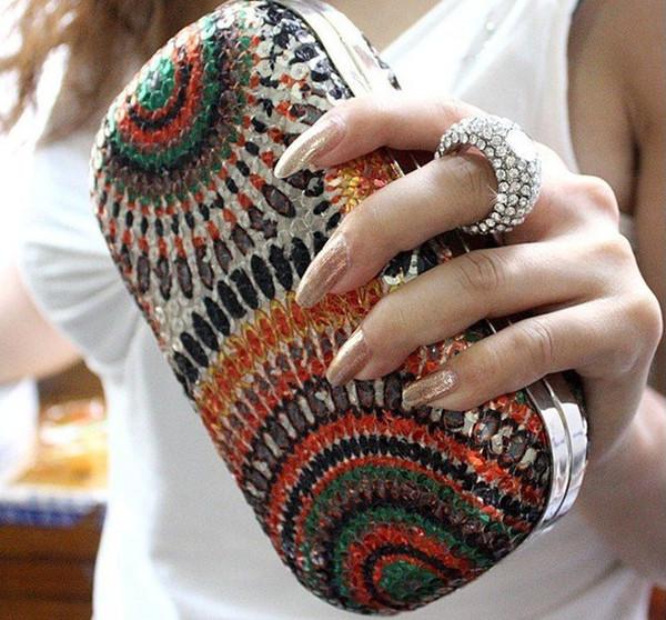 NEW !! Сцепление Knuckle Кольца мешок вечера партии сумки повелительниц с цепи, бумажник способа день сцепления, верхняя распродажа бесплатная доставка