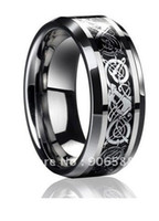 Wholesale Dragon Inlay Silver Plated Celtic Ring Unisex His Men Wedding Band Ring STR15 Size Free Shippin