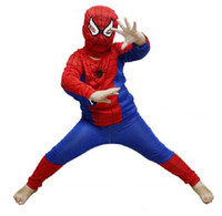 Wholesale EMS Free Halloween Spider Man Suit Clothes Apparel Spiderman Costume Children Kids Boys New V3596