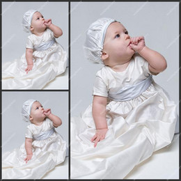 Wholesale A Line Babies First Communion Gowns Floor Length Scoop Neck Taffeta Short Sleeve Christening Gowns