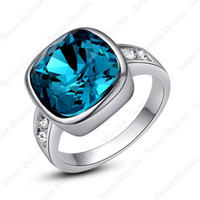 Wholesale New Arrival Brand New sapphire lady s Ring K white Gold Plated With Swaro Crystal
