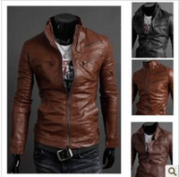 Wholesale New The multi zipper men s leather jacket standing collar motorcycle leather men s jacket piece