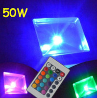 Wholesale 50W RGB led flood light W W W W with Remote Controlled outdoor spotlights landscape light