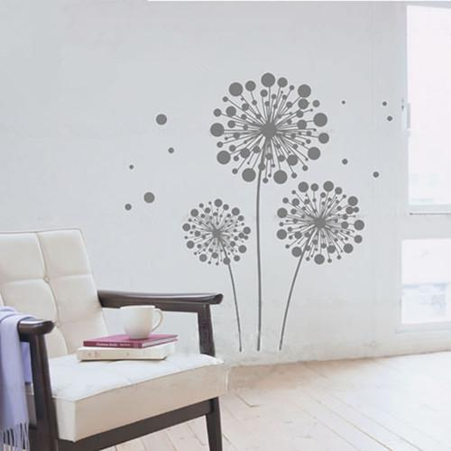Removable Wall Decal Sticker Gray Dandelion Mural Art Modern Wall Decor JM7069 JM 60x90cm