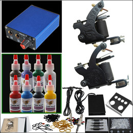 Wholesale Tattoo Kit Machines Gun Color Inks Power Supply Needles Set Starter