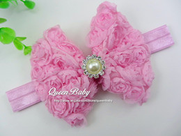 Wholesale Trial order Baby Chiffon Rose Bow Headbands With Pearl Center