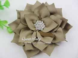 Winter Peony Flowers Hair Clip with Sparking Button Kanzashi Fabric Flowers Photography Props 240PCS LOT BY QueenBaby