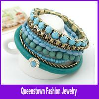 Bohemian acrylic stone bangles - Bohemian Multi Strand Beads Resin Stone Bracelet Bangle Set Jewelry Sets Bracelets For Women