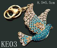 Wholesale 12pcs mixed color Unisex hot sell Zinc alloy crystal rhinestone animal Key chain fashion Keychains key ring KE12