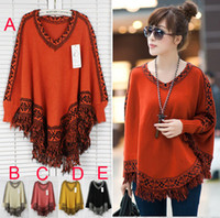 Wholesale Womens sweaters Lady plus size Batwing Sleeve tassels fringe cloak sweater winter autumn outerwear