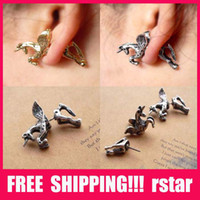 Wholesale European and American popular big design retro punk style Unicorn Pegasus piercing fashion earrings